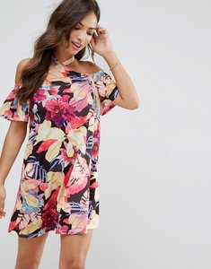 Read more about Asos halterneck cold shoulder sundress in bright floral print - floral print