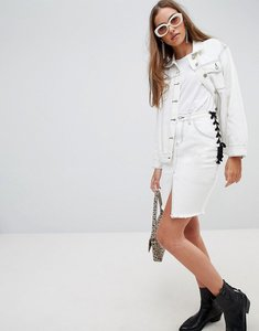 Read more about Glamorous lace up side denim skirt - white