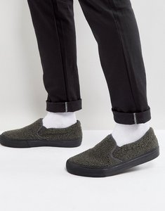 Read more about Asos slip on plimsolls in grey borg with black sole - grey