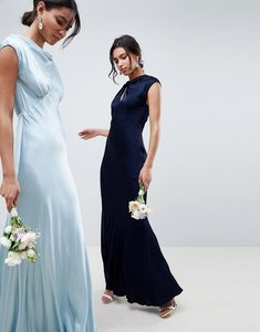 Read more about Ghost bridesmaid capped sleeve maxi dress with keyhole detail - navy