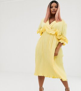 Read more about Prettylittlething plus pleated midi dress with frill detail in yellow