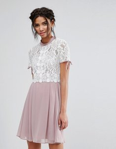 Read more about Elise ryan skater dress with corded lace upper - rose cream