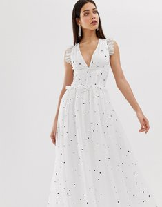 Read more about Forever u mesh midaxi dress in multi polka-dot