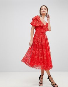 Read more about Asos ruffle one shoulder lace prom dress - red