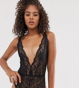 Read more about Asos tall blair high leg lace body with lace up back - black