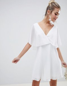 Read more about Asos design mini dress with pleat skirt and flutter sleeve - white