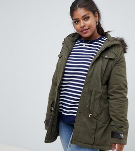 Read more about Brave soul plus allure parka coat - khaki