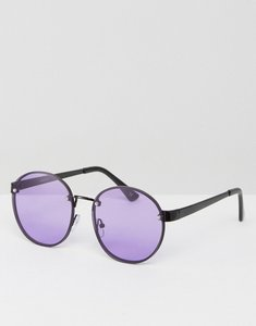 Read more about Asos round 90s sunglasses with lilac coloured lens - lilac