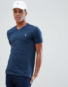 Read more about Polo ralph lauren v-neck t-shirt polo player in navy marl - blue eclipse heather