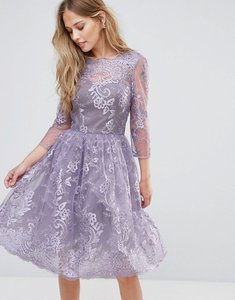 Read more about Chi chi london lace midi dress with scallop v back - light purple