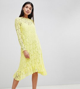 Read more about Asos design tall lace midi swing dress with ruffle hem - yellow