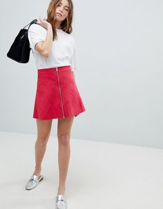 Read more about Only zip through faux suede a-line skirt - pink