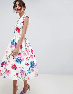 Read more about Asos design botanical panelled deep plunge prom dress - multi