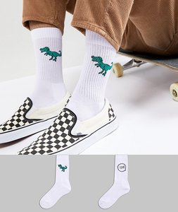 Read more about Asos design sports style socks with dinosaur embroidery 2 pack - multi