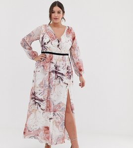 Read more about Little mistress plus plunge front long sleeve maxi dress in floral print