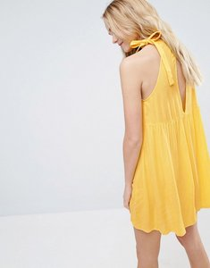 Read more about Asos swing sundress with neck tie open back - yellow
