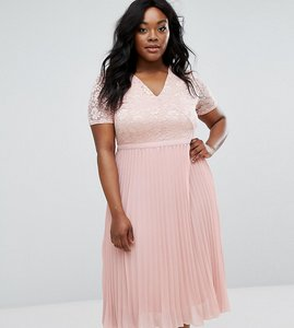 Read more about Truly you lace bodice skater dress with pleated skirt - blush