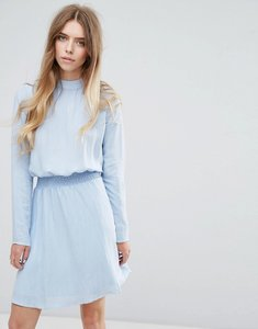 Read more about Vila high neck dress with gathered waist - cashmere blue