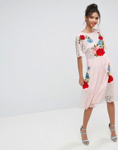 Read more about Asos premium embroidered midi dress with open back - pink
