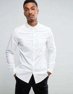 Read more about Asos casual slim oxford shirt with stretch in white - white