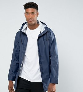 Read more about Asos tall shower resistant rain coat in navy - navy