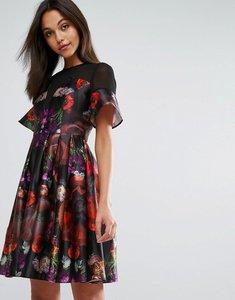 Read more about Skeena s midi prom dress in heavy satin in dark floral - multi dark rose