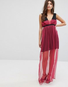 Read more about Fashion union maxi dress with sheer metallic spot mesh layer - hot pink