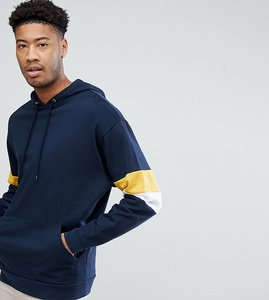 Read more about Asos tall oversized hoodie with colour block sleeves - navy coleman white