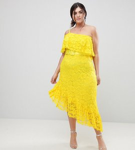 Read more about Asos curve one shoulder asymmetric lace midi skater dress with belt - yellow