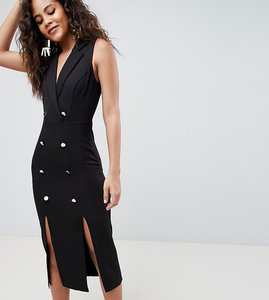 Read more about Asos design tall midi tux dress with gold buttons - black