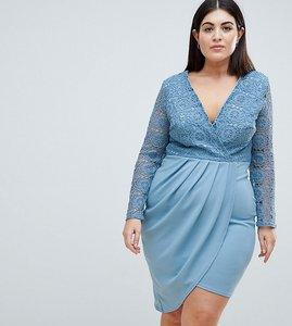 Read more about Club l plus crochet detailed wrap over asymetric dress - charcoal blue