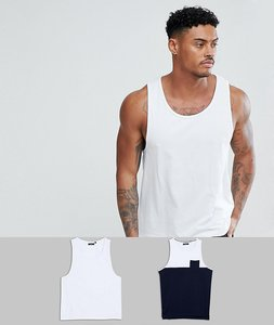 Read more about Brave soul 2 pack plain and block contrast pocket vest - white