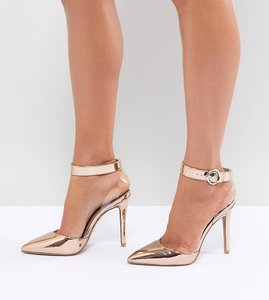 Read more about Qupid clear strap pointed heels - rose gold