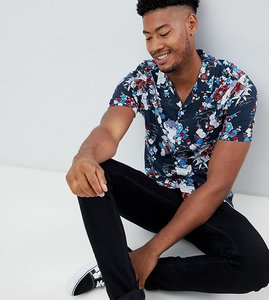 Read more about Asos design tall regular fit japanese floral shirt in navy with revere collar - navy