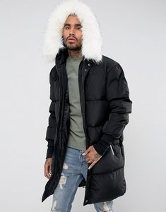 Read more about Sixth june longline puffer jacket in black with faux fur hood - black