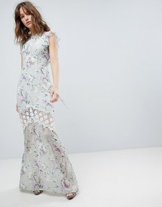 Read more about Hope ivy printed crochet insert maxi dress with open back ruffle detail - multi