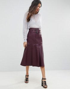 Read more about Asos leather look midi skirt with belt - burgundy