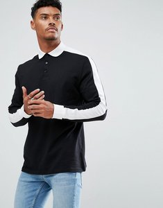 Read more about Asos long sleeve polo in relaxed fit with contrast sleeve panels - black white