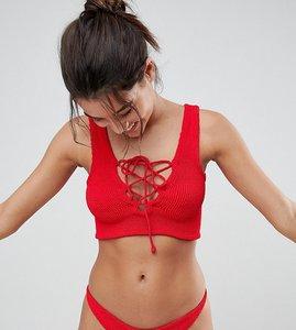Read more about Hunza g lattice crinkle crop bikini set - red