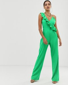 Read more about Prettylittlething frill detail jumpsuit - green