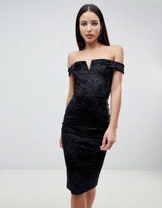 Read more about Ax paris bardot velvet midi dress - black