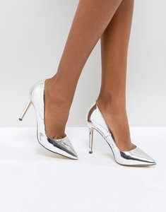Read more about Call it spring gwydda silver metallic court shoes - silver