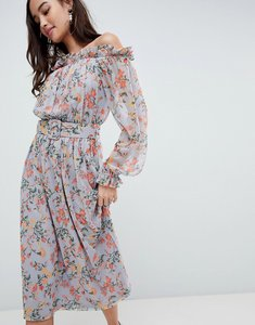 Read more about Asos bardot printed mesh midi dress with self belt - floral print