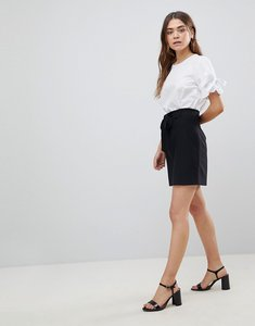 Read more about Asos design tailored obi tie mini skirt - black