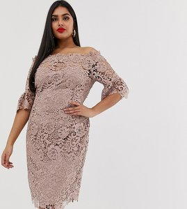 Read more about Paper dolls plus bardot crochet dress with fluted sleeve in taupe