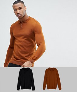 Read more about Asos 2 pack knitted muscle fit polo in tan black save - multi