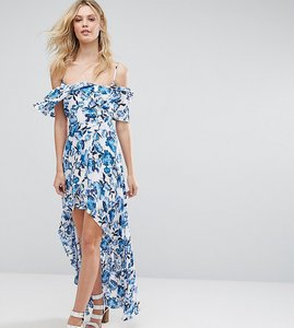 Read more about Missguided tall frill detail maxi dress - floral
