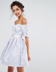 Read more about Chi chi london jaquard mini dress - blue pink