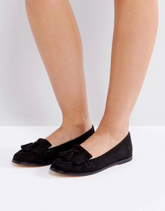 Read more about London rebel fringe tassle loafers - blk micro