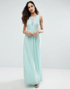 Read more about Club l bridesmaid maxi dress with rose embroidery - sky blue
